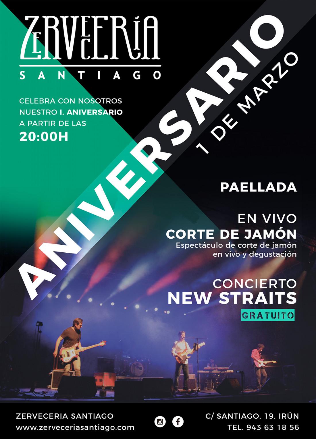 Cartel del I Aniversario de la Zerveceria Santiago