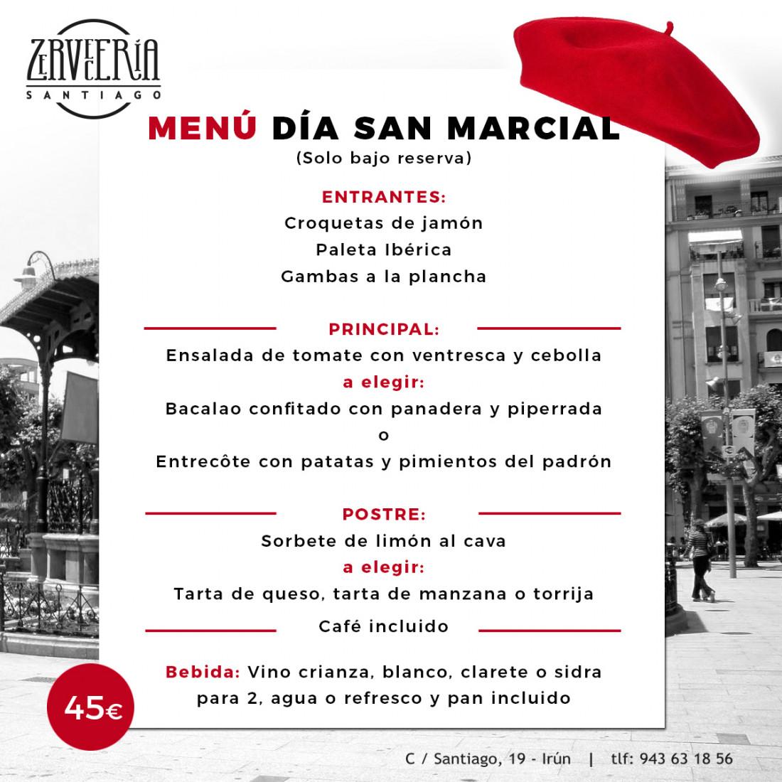 menú San Marcial 2019 Irún